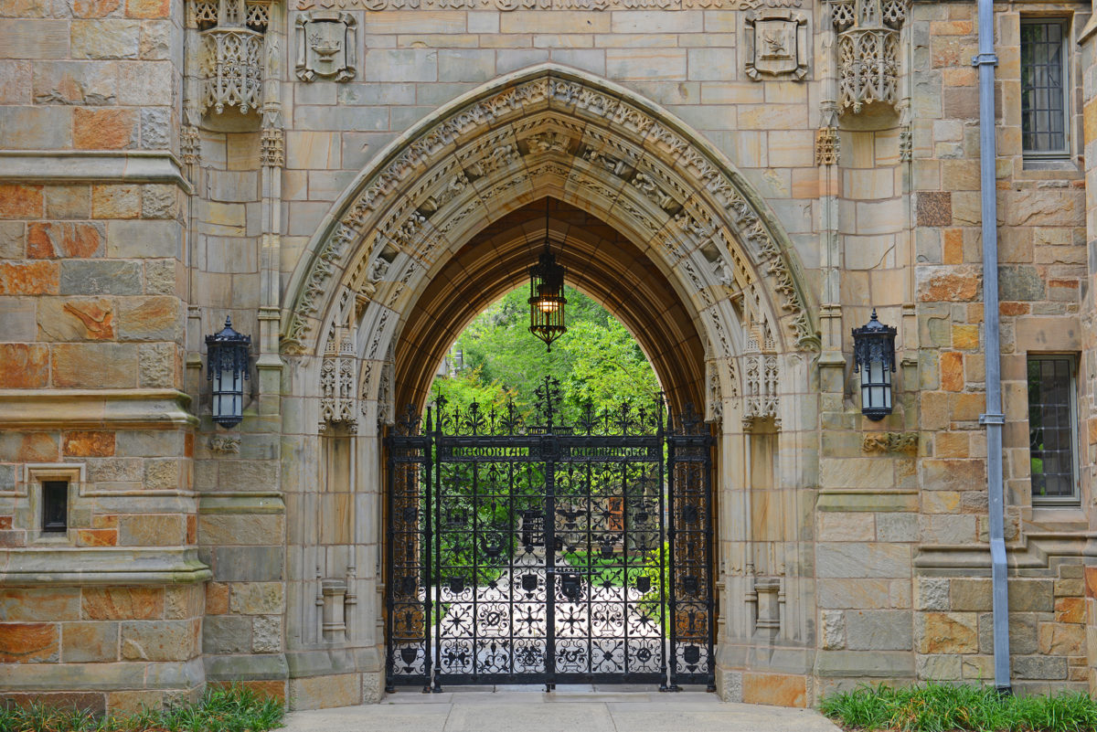 Gateway to Branford Hall in Yale University, New Haven, Connecticut, CT, USA.